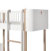 Wood mini+ halvhøj seng, hvid/eg