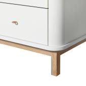 Wood kommode 6 skuffer, hvid/eg