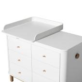 Wood puslekommode, 6 skuffer m. lille pusleplade, hvid/eg